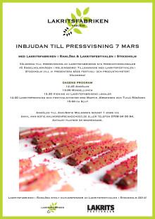 Inbjudan till pressvisning 7 mars tillsammans med Lakritsfabriken och Lakritsfestivalen i Stockholm!