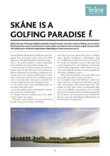 PRESSINFO: Skåne is a golfing paradise