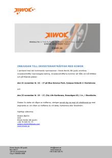 Kiwok inbjudan investerarträffar november 2017