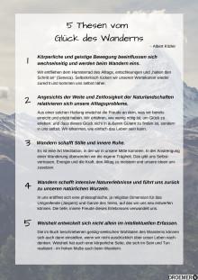 5 Thesen vom Glück des Wanderns, Albert Kitzler // Zusatzmaterial
