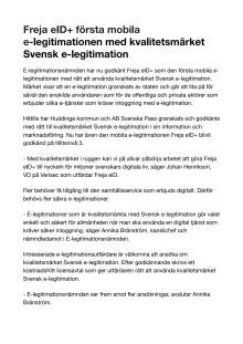 Freja eID+ första mobila e-legitimationen med kvalitetsmärket Svensk e-legitimation
