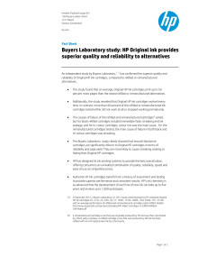 Buyers Laboratory study: HP Original ink provides superior quality and reliability to alternatives