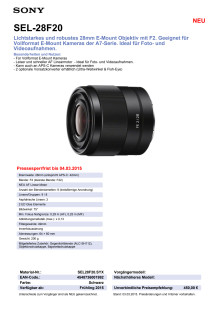 Datenblatt SEL-28F20 von Sony