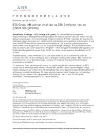 BTS Group AB tecknar avtal värt ca SEK 9 miljoner med ett globalt energiföretag