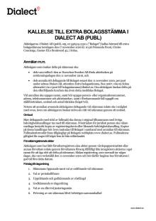 Kallelse till extra bolagsstämma i Dialect AB (publ) - november 2016