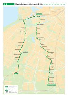 Stadsbuss linje 8 i Malmö. Ny linjesträckning från 17 augusti 2014