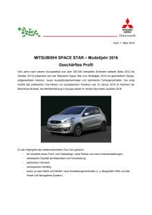 MITSUBISHI SPACE STAR – Modelljahr 2016 Geschärftes Profil