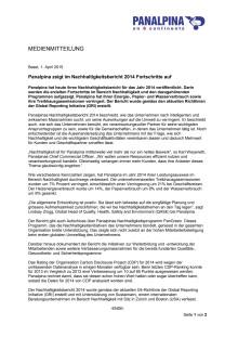 Panalpina zeigt im Nachhaltigkeitsbericht 2014 Fortschritte auf