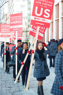 U.S. Flight Attendants Rally at the U.S. Department of Transportation