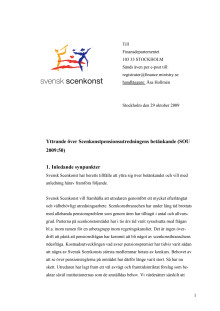 Svensk Scenkonst yttrande scenkonstpensionsutredningen