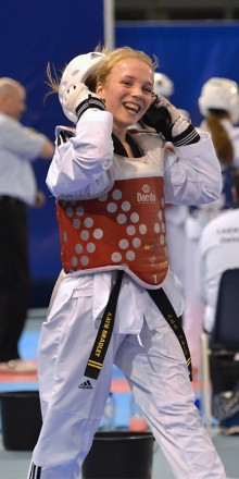 Tae kwon do athlete Katie Bradley dominates in Reading to win junior and senior gold
