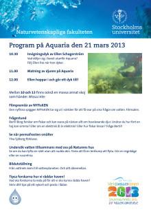Programmet för Världsvattendagen på Aquaria 2013