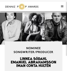 Nominerade till  Årets Låtskrivare och Producent i Denniz Pop Awards!