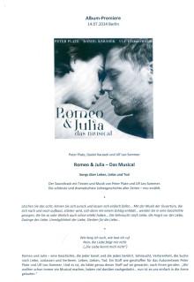 """Pax et Bonum Verlag Gast bei Album-Präsentation """"Romeo + Julia""""(Info zum Album)"""
