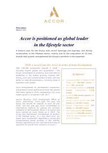 Accor is positioned as global leader in the lifestyle sector