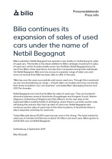 Bilia continues its expansion of sales of used cars under the name of Netbil Begagnat