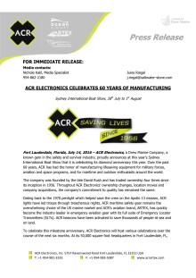 July 2016 - ACR Electronics - Press Release #2: ACR Electronics Celebrates 60 Years of Manufacturing