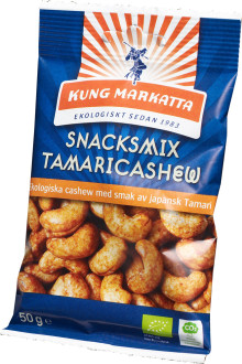 Nytt oemotståndligt eko-snacks från Kung Markatta  – ekologiska cashewnötter med smak av japansk Tamari.