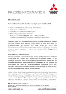 Pressemappe Outlander Plug-in Hybrid MY19