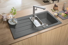So simple, so stylish, so versatile. Grey -  the perfect colour for trendy kitchen designs