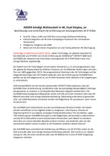 ADDER kündigt Weltneuheit in 4K, Dual-Display, an