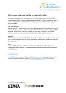 Silver-Emma Johansson instiftar nytt cykelstipendium