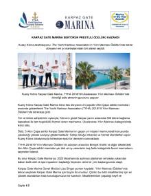 Karpaz Gate Marına Sektörün Prestijli Ödülünü Kazandı