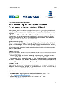 Pressmeddelande 2019-03-11: MKB bildar bolag med Skanska och Tornet