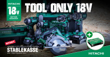 "NYHET! Hitachi ""Tool Only"" 18V batterimaskiner i smart verktøykoffert som kan stables!"
