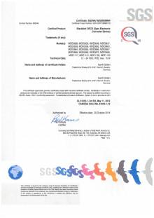 Blackbird SGS Certificate