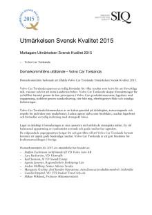 Presentation Utmärkelsen Svensk Kvalitet 2015