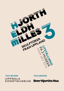 Vernissagekort Hjort. Eldh. Milles. Tre skulptörer från Uppland