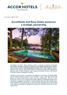 Press Release: AccorHotels and Rixos Hotels announce a strategic partnership