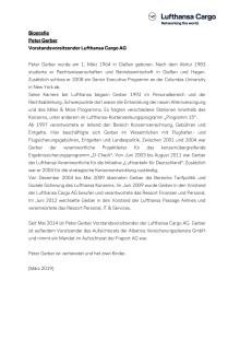 Biographie Peter Gerber - CEO Lufthansa Cargo (Deutsch)