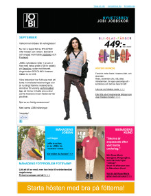 JOBI Jobbskor Nyhetsbrev september 2012