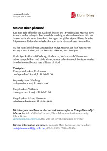Pressmeddelande - Marcus Birro på turné