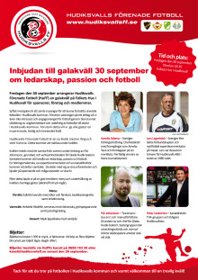 Galakväll om ledarskap, passion och fotboll med Pär Johansson, Amelia Adamo, Lars Lagerbäck och Peter Lindström