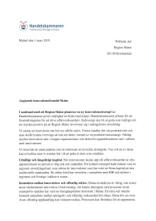 """Remissvar """"Angående innovationsframtid Skåne"""""""