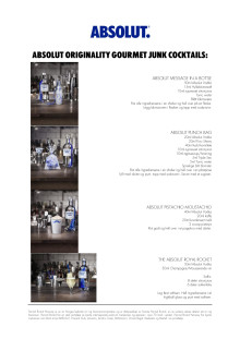 Absolut Originality - Gourmet Junk Cocktail meny