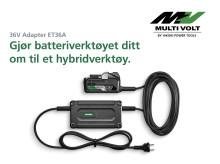 Nyhet! Uendelig driftstid med nettstrøm-adapter for batteriverktøy!