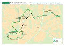 Kartor över bussarna körvägar i Lund och Malmö vid påvebesöket