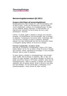 Bemanningsbarometern Q2 2012, svagare efterfrågan på bemanningstjänster