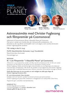 Inbjudan till pressträff: Astronautmöte och filmpremiär på Cosmonova.
