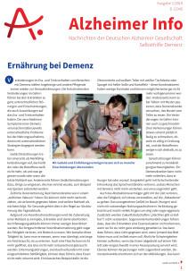 Ernährung bei Demenz: Schwerpunktthema im Alzheimer Info 1/2019