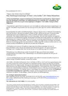 Max Hamburgerrestauranger till final i Arla Guldko® 2011 Bästa Miljöarbete