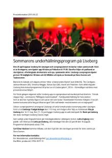Pressmaterial - Lisebergs underhållningsprogam 2015