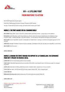 Final seminar agenda: HIV - A Life long fight