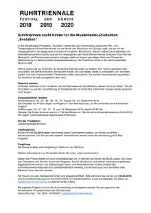 Ruhrtriennale Ausschreibung Kinder-Statist*innen