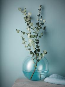 Himmelblå glasvase