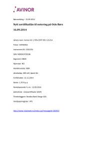 Nytt sertifikatlån til notering på Oslo Børs 16.09.2014